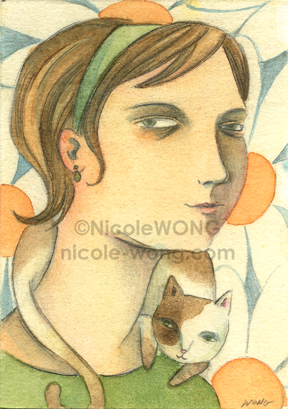 etsy.aceo.Portrait-with-Cat
