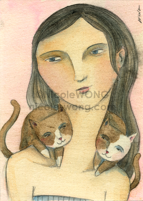 etsy.aceo.Cat-twins