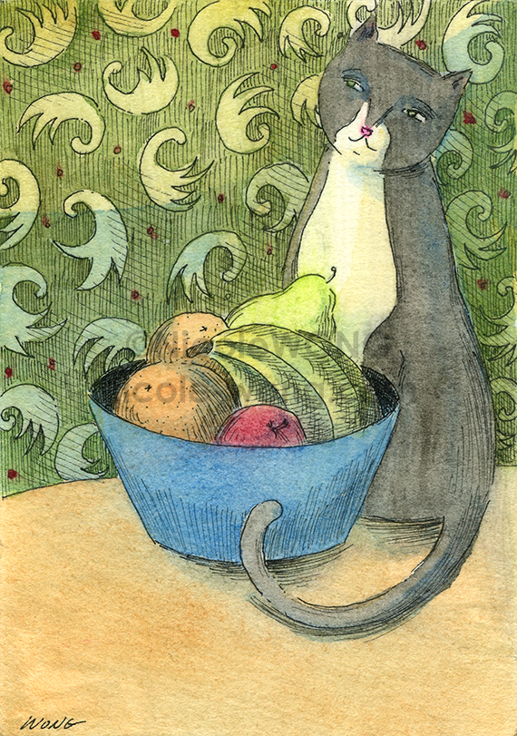 etsy.aceo.Still-life-with-cat