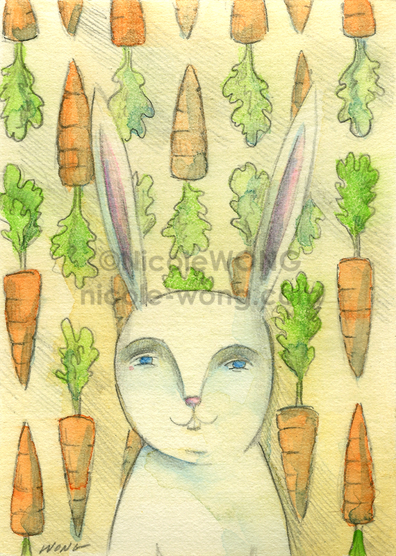 etsy.aceo.Rabbit-Portrait