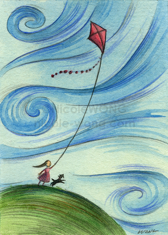 etsy.aceo.Windy-kite-flying