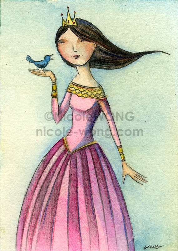 etsy.aceo.Princess-and-the-blue-bird