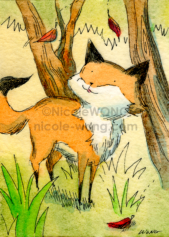 print.aceo.Little-Fox-Watching-the-Leaves-Fall