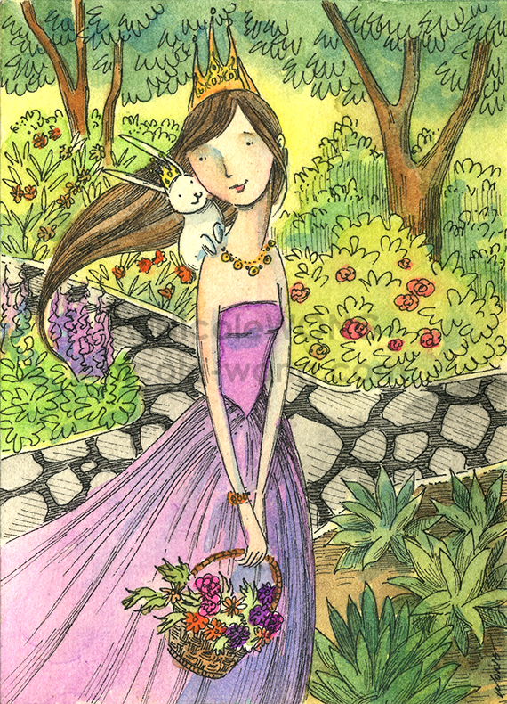 etsy.aceo.Princess-and-the-bunny